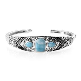 9.75 Ct Larimar Cuff Bangle in Sterling Silver 24.22 Grams 7.5 Inch