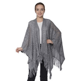 Hollow Out Knit Kimono with Tassels (60x125+10cm) - Grey