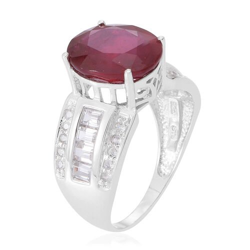 African Ruby (Ovl 6.50 Ct), White Topaz Ring in Rhodium Plated Sterling Silver 7.600 Ct.