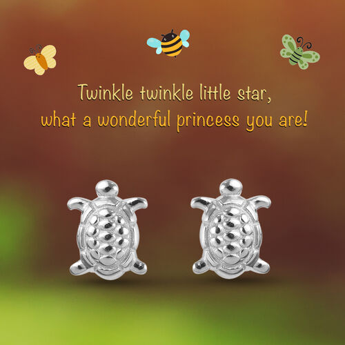 Turtle Earrings for Children in Sterling Silver