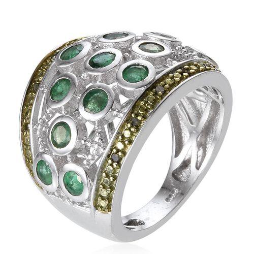 Kagem Zambian Emerald (Rnd), Green Diamond Ring in Platinum Overlay Sterling Silver 1.580 Ct.