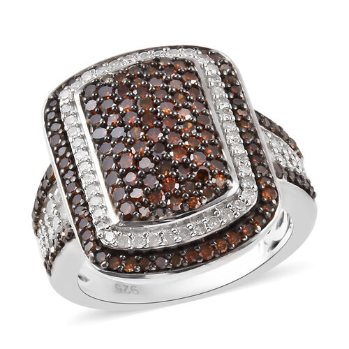 1.32 Ct Red and White Diamond Cluster Ring in Platinum Plated Sterling Silver