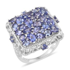 One Time Deal- Tanzanite Cluster Ring in Platinum Overlay Sterling Silver 6.250 Ct. Silver wt 9.03 Gms.
