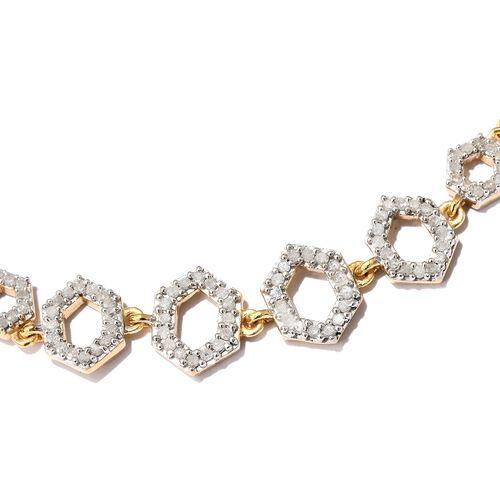 Diamond 0.50 Carat Silver Honeycomb Adjustable Bracelet in 14K Gold Overlay (Size 6.5 to 8)