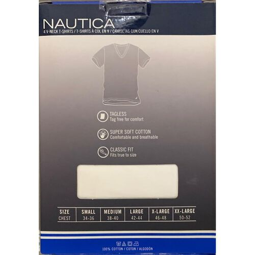 Pack of 4 - Nautica Mens 100% Cotton V-Neck White T-Shirt (Size M)
