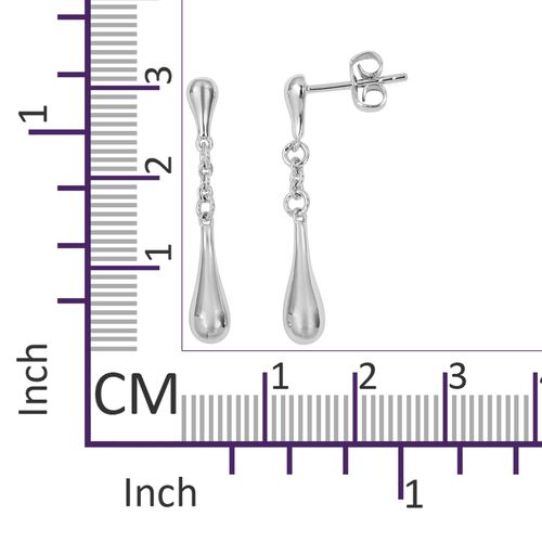 LucyQ Single Drip Earrings (with Push Back) in Rhodium Overlay Sterling Silver