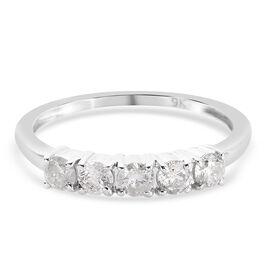9K White Gold SGL Certified Diamond (I3/ G-H) Ring 0.500 Ct.
