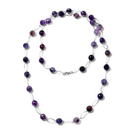 Designer Inspired- Faceted Purple Agate (Round 11-13mm) Necklace (Size 44) in Silver Plated 330.000 Ct