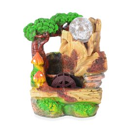 Pine Tree Theme Water Fountain with Rotating Magical Light Globe (Size 19.5x16 Cm)