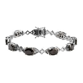 9.75 Ct Elite Shungite Link Bracelet in Platinum Plated Sterling Silver 18.50 Grams 7.5 Inch