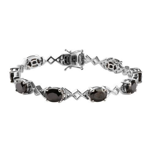 9.75 Ct Elite Shungite Link Bracelet in Platinum Plated Sterling Silver 18.50 Grams 7.5 Inch