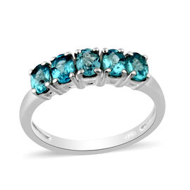 One Time Deal- Paraibe Apatite Five Stone Ring in Sterling Silver