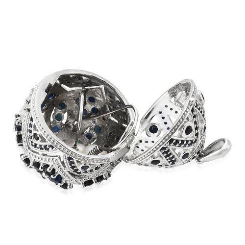 Designer Inspired-Kanchanaburi Blue Sapphire (Rnd), Pendant in Platinum Overlay Sterling Silver 9.750 Ct. Silver wt. 14.02 Gms. Number of Gemstone 196