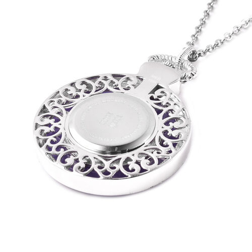 Purple Jade Swiss Movement Watch with Chain (Size 32) in Rhodium Overlay Sterling Silver and Stainless Steel 72.00 Ct, Silver wt. 21.00 Gms