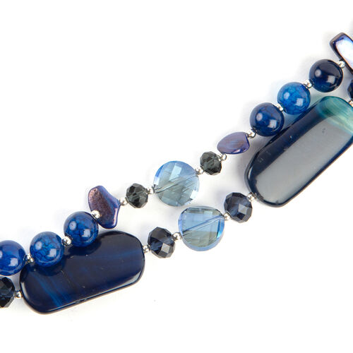 Blue Agate, Simulated Blue Sapphire,Simulated Shell Necklace (Size 29 with 2 Inch Extender) in Silver Plated 730.000 Ct.