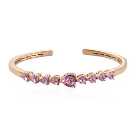 J Francis - Crystal from Swarovski Light Rose Crystal (Hrt) Cuff Bangle (Size 7.5) in 14K Gold Overl