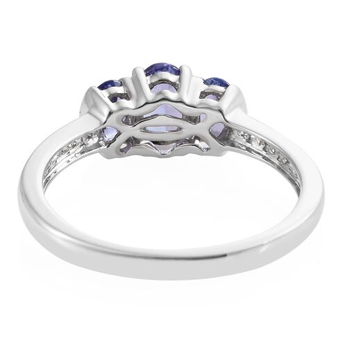 9K White Gold Tanzanite (Ovl), Natural Cambodian Zircon Ring 1.000  Ct.