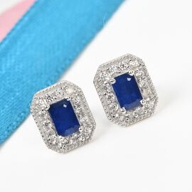 Tanzanian Blue Spinel and Natural Cambodian Zircon Halo Earrings (with Push Back) in Platinum Overla