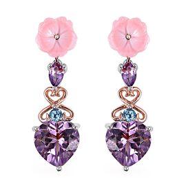Brazilian Pink Amethyst (4.43 Ct),Pink Mother of Pearl,Swiss Blue Topaz Sterling Silver Earring  7.0