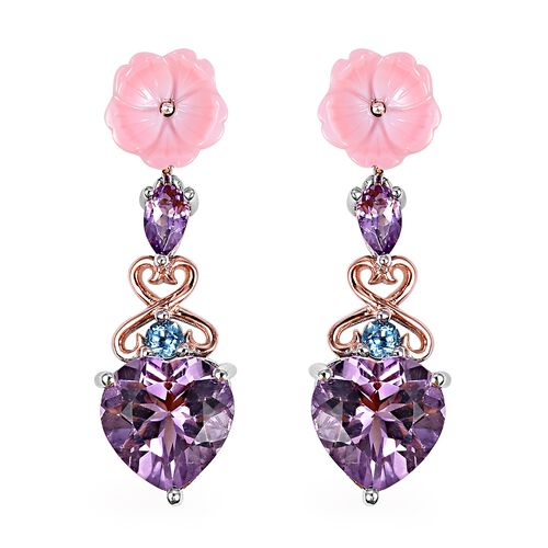 Brazilian Pink Amethyst (4.43 Ct),Pink Mother of Pearl,Swiss Blue Topaz Sterling Silver Earring  7.0