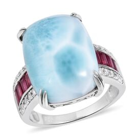 Larimar (Cush 20x15 mm), African Ruby and Natural White Cambodian Zircon Ring in Rhodium Overlay Sterling Silver 19.925 Ct.