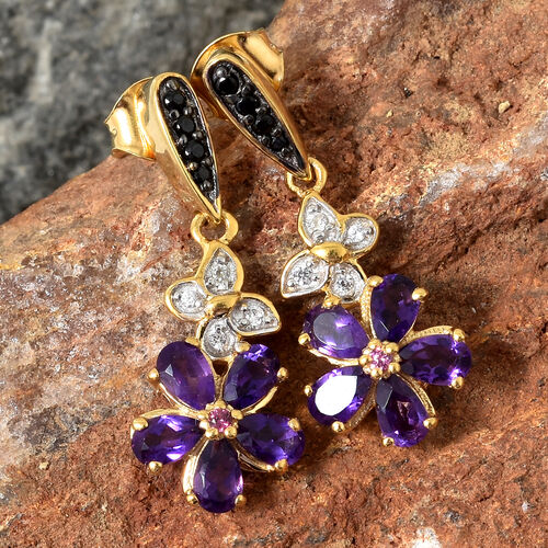 GP Amethyst (Pear 1.95 Ct), Kanchanaburi Blue Sapphire, Boi Ploi Black Spinel and Multi Gemstone Earrings in 14K Gold and Black Overlay Sterling Silver 2.250 Ct.
