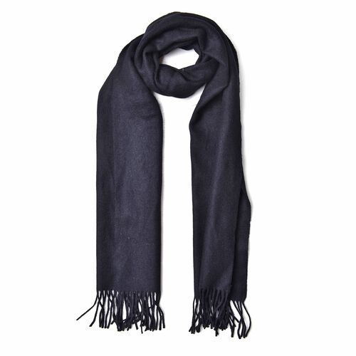 100% Wool Black Colour Scarf with Tassels (Size 180X35 Cm)