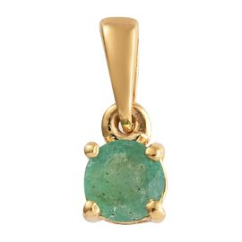 Kagem Zambian Emerald (Rnd) Solitaire Pendant in 14K Gold Overlay Sterling Silver Pendant 0.500 Ct