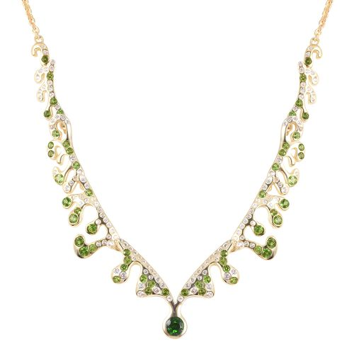 LUCY Q 3.02 Ct Russian Diopside and White Zircon Statement Necklace in Gold Plated Sterling Silver