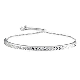 JCK Vegas Collection - Sterling Silver Diamond Cut Bracelet (Size 6.5-9.5 Adjustable)