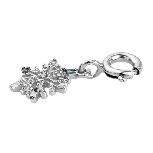 Blue and White Diamond (Rnd and Bgt) Snowflake Charm in Platinum Overlay Sterling Silver