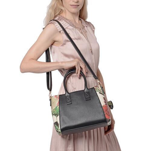 Black Colour Handbag with Detachable Shoulder Strap (Size - 33x14x22cm)