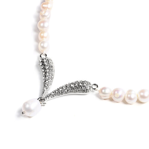 White Freshwater Pearl and Austrian White Crystal Necklace (Size 20 with 2 inch Extender) in Silver Tone