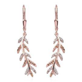 Natural Champagne Diamond, White Diamond 0.25 Carat Leaf Lever Back Earrings in Rose Gold Overlay St