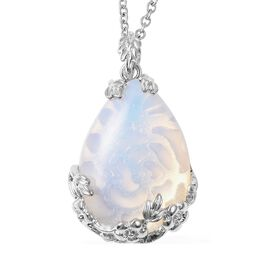 45 Carat Opalite Floral Vine Drop Pendant with Chain in Stainless Steel 24 Inch