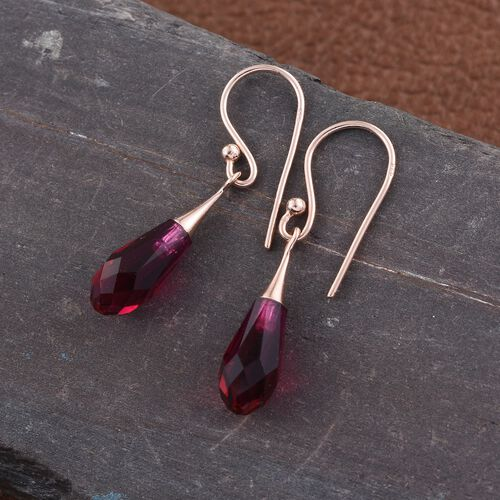 J Francis Crystal from Swarovski - Ruby Colour Crystal Drop Hook Earrings in Rose Gold Overlay Sterling Silver