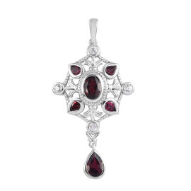 Rhodolite Garnet and Natural Cambodian Zircon Pendant in Platinum Overlay Sterling Silver 3.00 Ct.