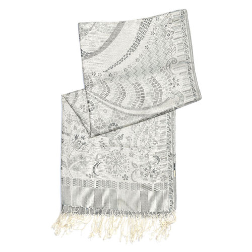 100% Silk Grey, Off White and Multi Colour Paisley and Floral Pattern Scarf (Size 180x70 Cm)