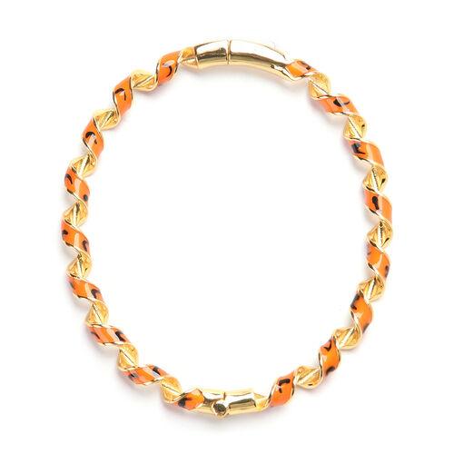 Orange Enamelled Twisted Bangle (Size 7.25) in Yellow Gold Tone