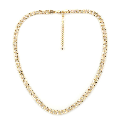 Royal Bali Collection - 9K Yellow Gold Double Curb Necklace (Size 18 with 2 inch Extender), Gold wt 7.66 Gms