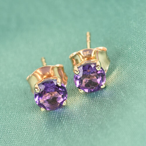 9K Yellow Gold Moroccan Amethyst Solitaire Stud Earrings (with Push Back) 0.89 Ct.