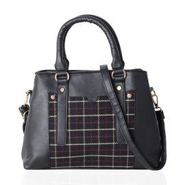 Close Out Deal Black Colour Gingham Pattern Tote Bag with Removable Shoulder Strap (Size 32x24x10 Cm