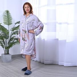 LA MAREY sleep long shirt Color-grey base with flower print
