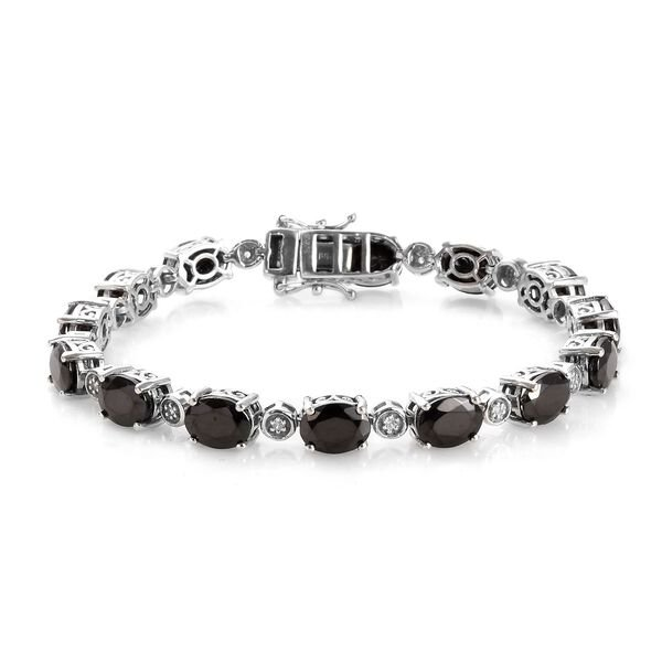 11.25 Ct Shungite and Zircon Tennis Bracelet in Platinum Plated Silver 13.21 Grams 7 Inch