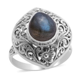 Royal Bali Collection Labradorite Ring in Sterling Silver 3.00 Ct, Silver wt 5.50 Gms