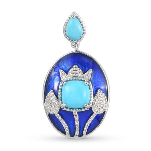 Arizona Sleeping Beauty Turquoise Dangling Enamelled Pendant in Platinum Overlay Sterling Silver 1.6