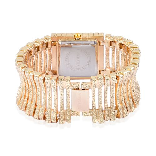 STRADA Japanese Movement White Austrian Crystal Studded Simulated MOP Dial Bracelet Watch in Yellow Gold Tone