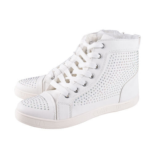 White Ankle Trainers with Faux Fur Lining (Size 7)