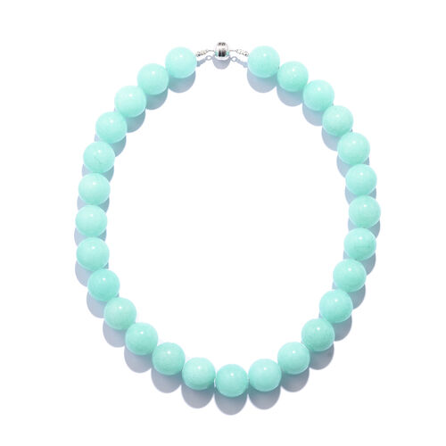 Extremely Rare Size Amazonite Colour Quartz Necklace Size 18 in Rhodium Plated Silver