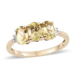 Mega Deal-9K Yellow Gold Madagascar Honey Apatite (Ovl), Diamond Ring 2.350 Ct.
